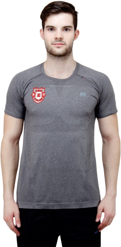 T10 Sports Solid Men's Round Neck Grey T-Shirt
