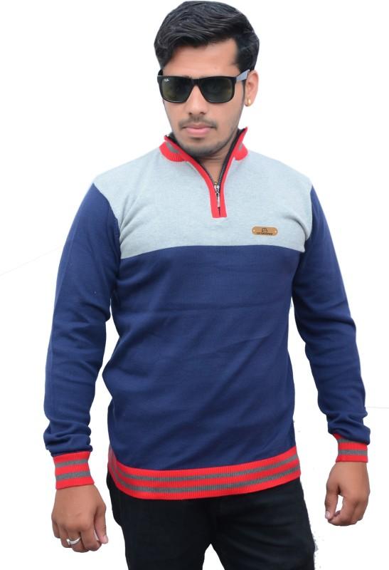 Cotton Avenue Self Design Men's Flap Collar Neck Multicolor T-Shirt