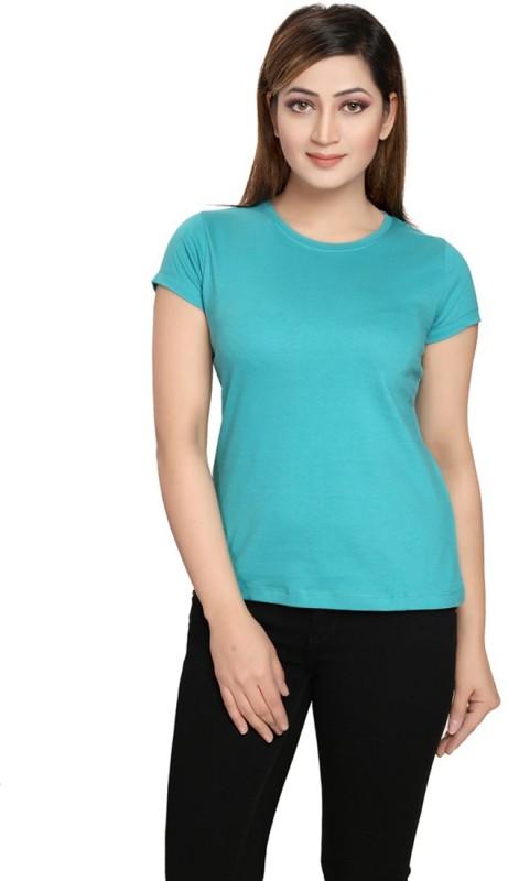 Vestonice Solid Women's Round Neck Blue T-Shirt