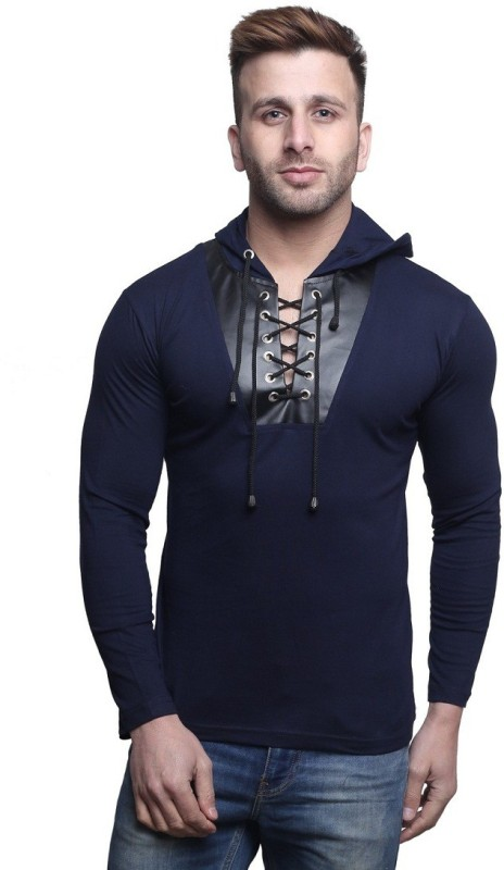 Leana Solid Men's Hooded Dark Blue T-Shirt