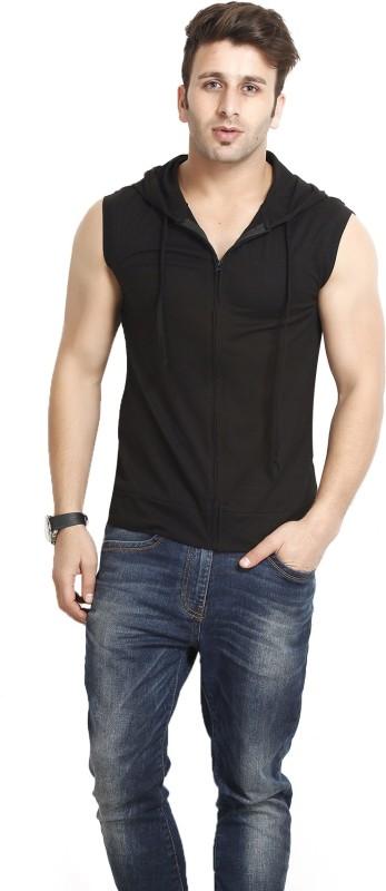 Gritstones Solid Men's Hooded Black T-Shirt
