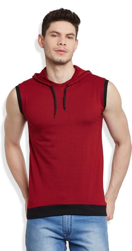 GHPC Solid Men's Hooded Maroon T-Shirt