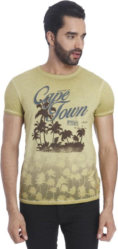 Jack & Jones Printed Mens Round Neck Beige T-Shirt