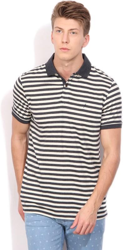 Indian Terrain Striped Mens Polo Neck Dark Blue T-Shirt
