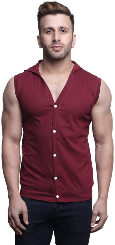 Leana Solid Men's Hooded Maroon T-Shirt