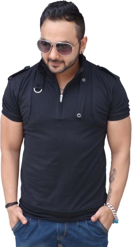 Black Collection Solid Men's Flap Collar Neck Black T-Shirt