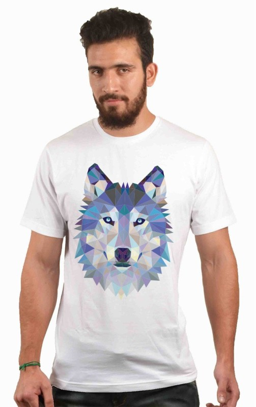 POLYGON Printed Men's Round Neck White T-Shirt