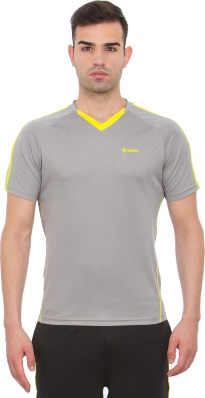 Zeven Solid Men's V-neck Grey T-Shirt
