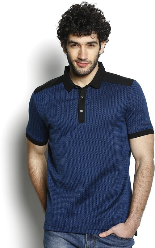 Blackberrys Self Design Mens Polo Neck Blue T-Shirt