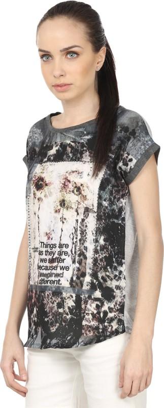 Raw Designs Printed Women's Round Neck White, Grey T-Shirt