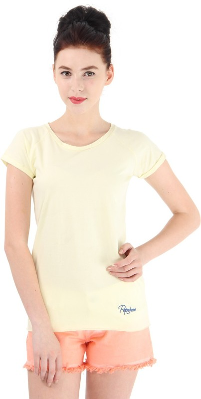 Pepe Jeans Solid Women Round Neck Yellow T-Shirt