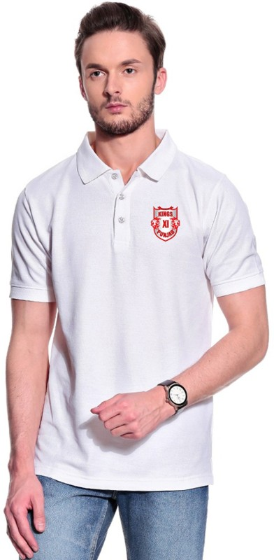Kings XI Punjab Printed Men's Polo Neck White T-Shirt