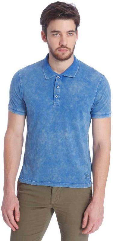 Jack & Jones Solid Men's Polo Neck Blue T-Shirt