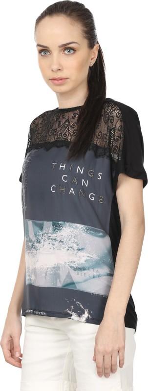 Raw Designs Printed Women's Round Neck Beige, Black T-Shirt