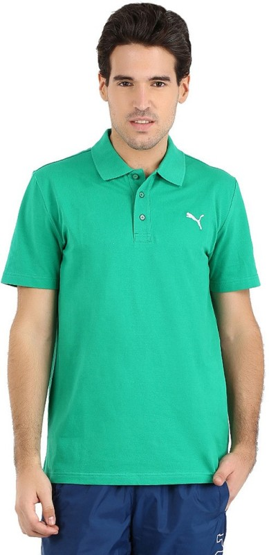 Puma Solid Men's Polo Neck Green T-Shirt ESSPolo