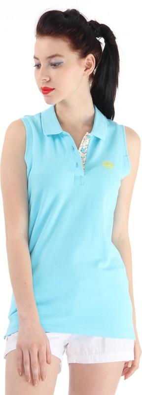 Pepe Jeans Solid Women Flap Collar Neck Blue T-Shirt