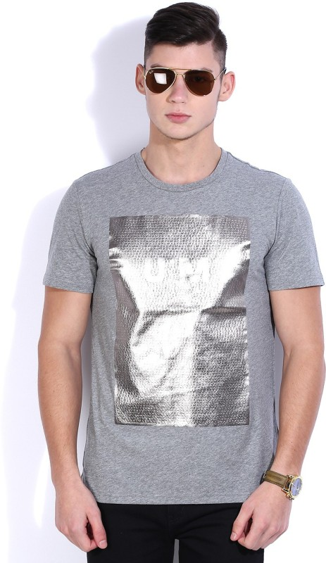 Puma Printed Men's Round Neck Grey, Silver T-Shirt