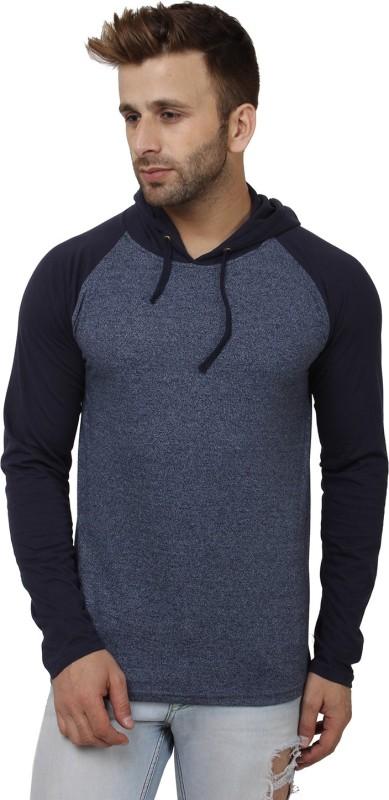 SayItLoud Solid Men's Hooded Blue, Blue T-Shirt