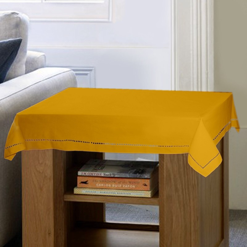 Lushomes Solid 2 Seater Table Cover(Yellow, Cotton)