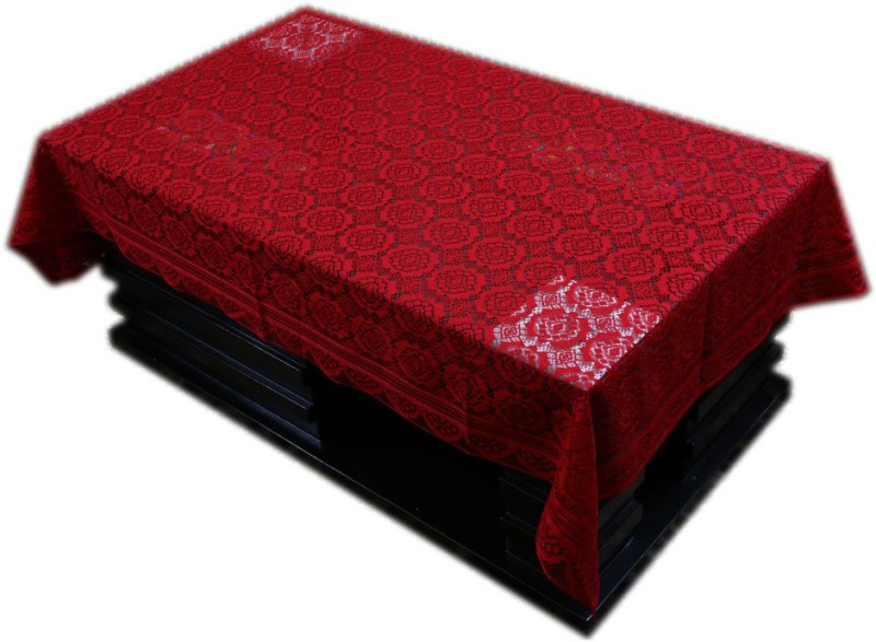 Kuber Industries Printed 4 Seater Table Cover(Maroon, Cotton)