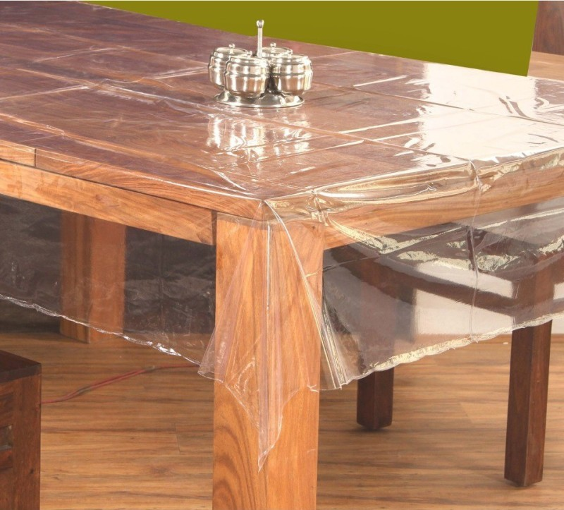 Katwa Clasic Solid 6 Seater Table Cover(Transparent, PVC)