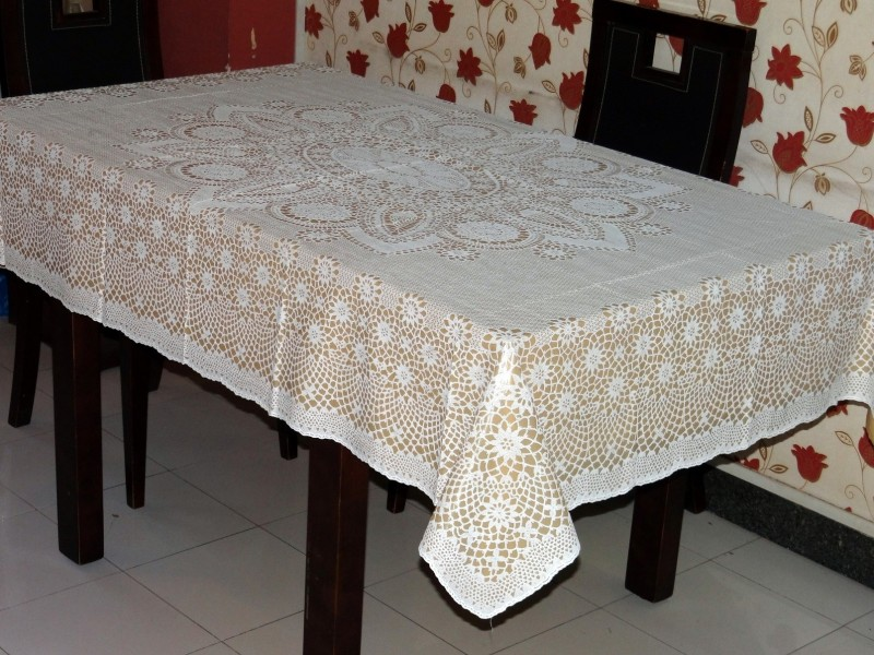 Katwa Clasic Crocheted 4 Seater Table Cover(White, PVC)