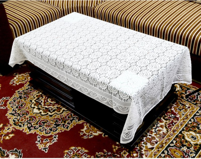 Kuber Industries Printed 4 Seater Table Cover(White, Cotton)