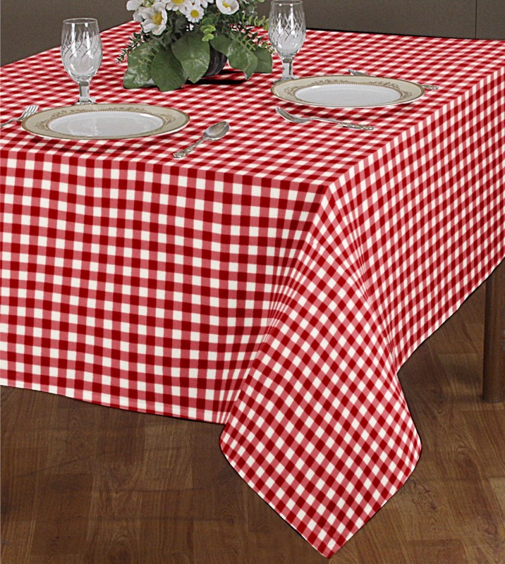 Airwill Checkered 6 Seater Table Cover(Red, White, Cotton)