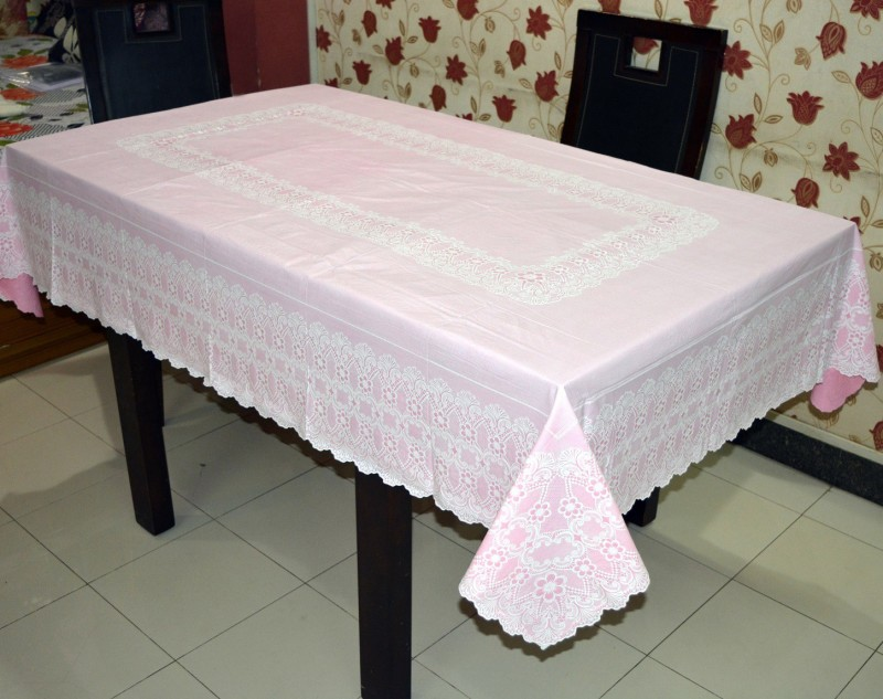 Katwa Clasic Floral 6 Seater Table Cover(Pink, PVC)