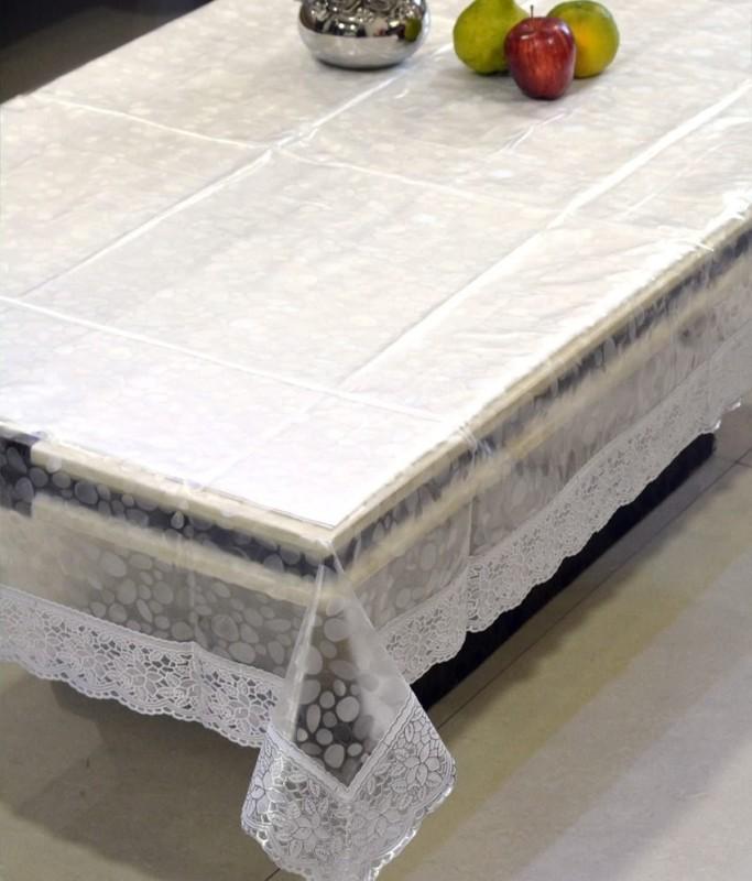 Jain Enterprises Self Design 6 Seater Table Cover(White, PVC)