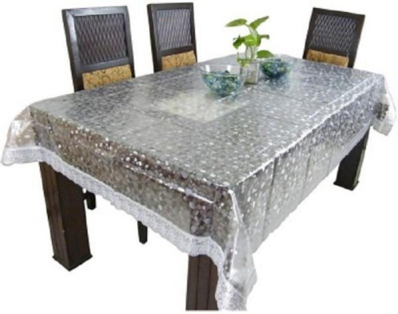 Rajri Decor Solid 6 Seater Table Cover(Transparent, Vinyl)