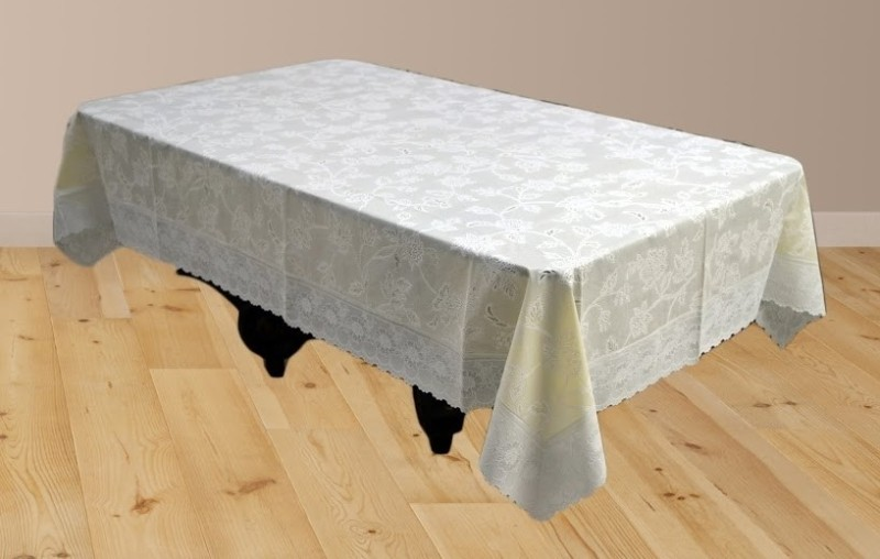 Katwa Clasic Floral 2 Seater Table Cover(Yellow, PVC)