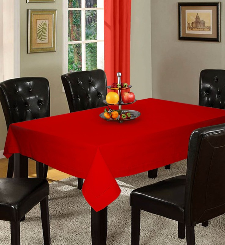 Lushomes Solid 6 Seater Table Cover(Red, Cotton)