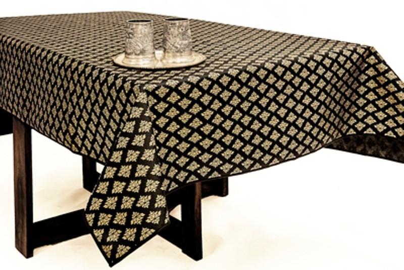 Cannigo Printed 6 Seater Table Cover(Black, PVC)