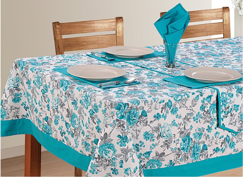 Swayam Floral 4 Seater Table Cover(Blue, Grey, White, Cotton)