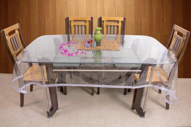 Rajri Decor Solid 6 Seater Table Cover(Silver, PVC)