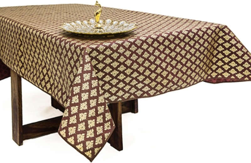Cannigo Printed 8 Seater Table Cover(Brown, PVC)