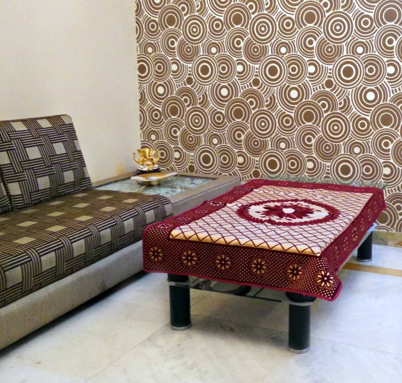 SHC Floral 4 Seater Table Cover(Golden Maroon, Velvet)