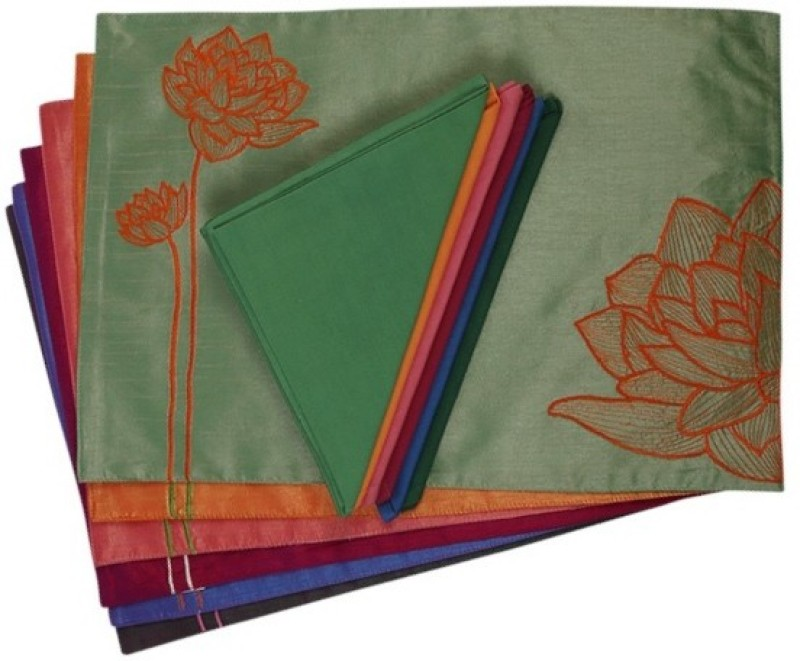 I Village Multicolor Silk Table Linen Set(Pack of 12)