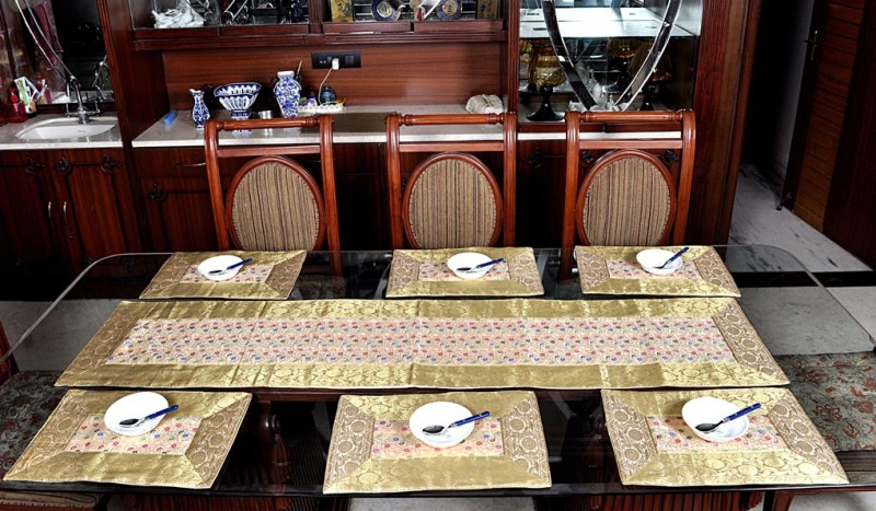 Lal Haveli Beige Silk Table Linen Set(Pack of 7)