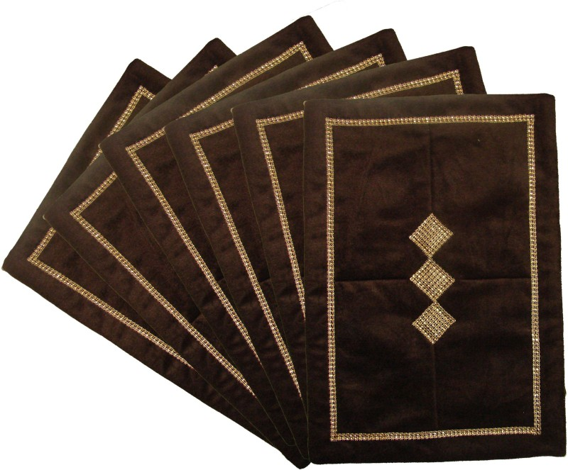 Home Shine Brown Velvet Table Linen Set(Pack of 6)