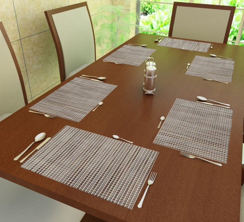 Home Candy Rectangular Pack of 6 Table Placemat(Grey, Polyester)