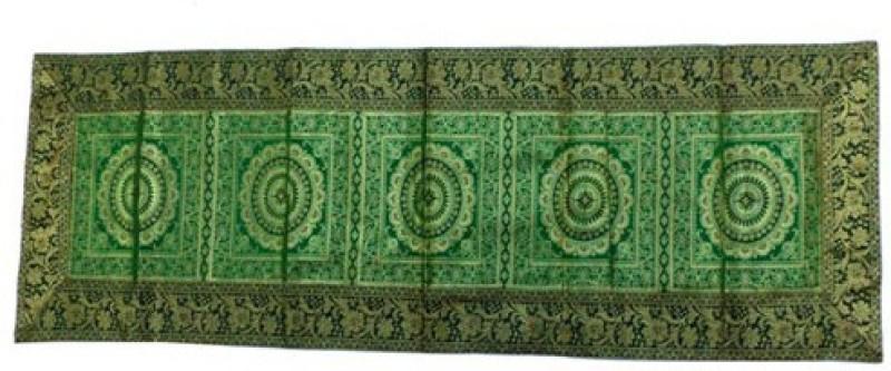 Baba Handicraft Green 60 cm Table Runner(Silk)