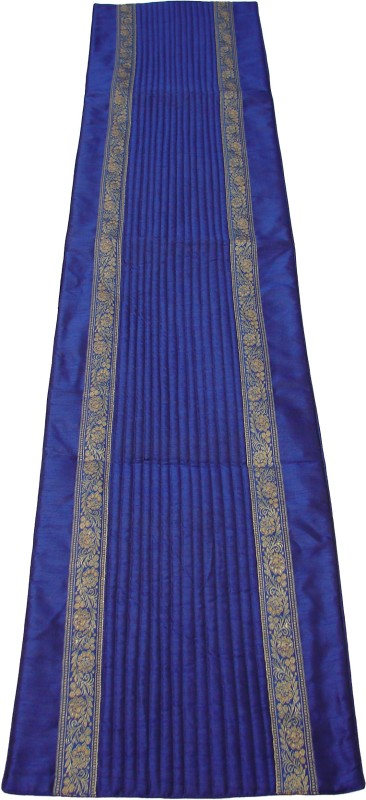 HOME SHINE Blue 90 cm Table Runner(Polyester)