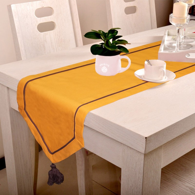 Lushomes Orange 180 cm Table Runner(Cotton)