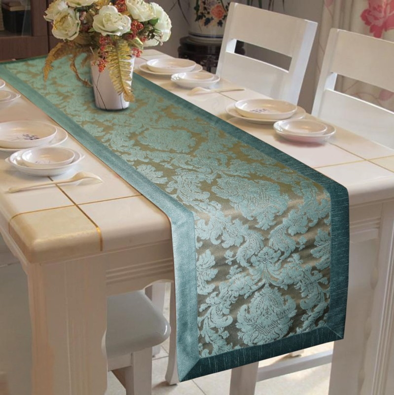 Lushomes Blue 180 cm Table Runner(Polyester)