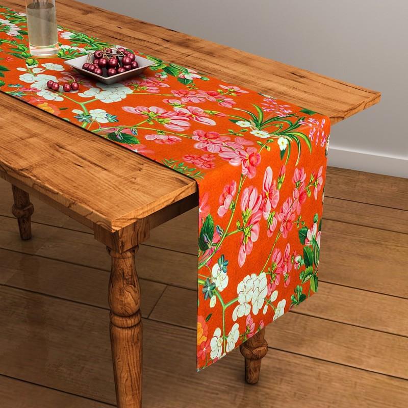 SEJ by Nisha Gupta Orange 120 cm Table Runner(Cotton)