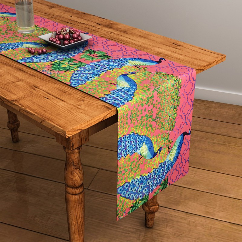 SEJ by Nisha Gupta Pink 120 cm Table Runner(Cotton)