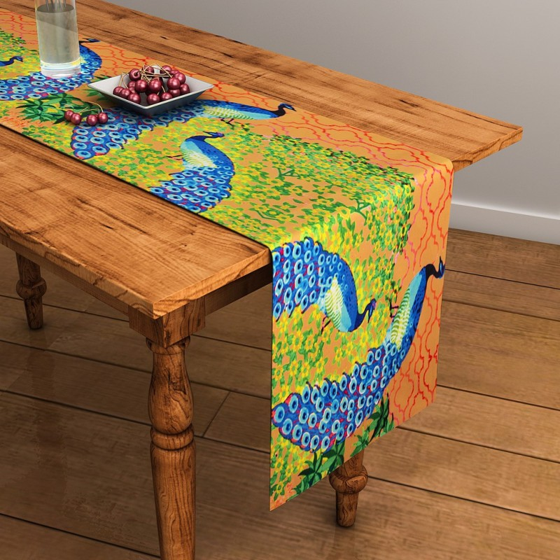 SEJ by Nisha Gupta Brown 120 cm Table Runner(Cotton)