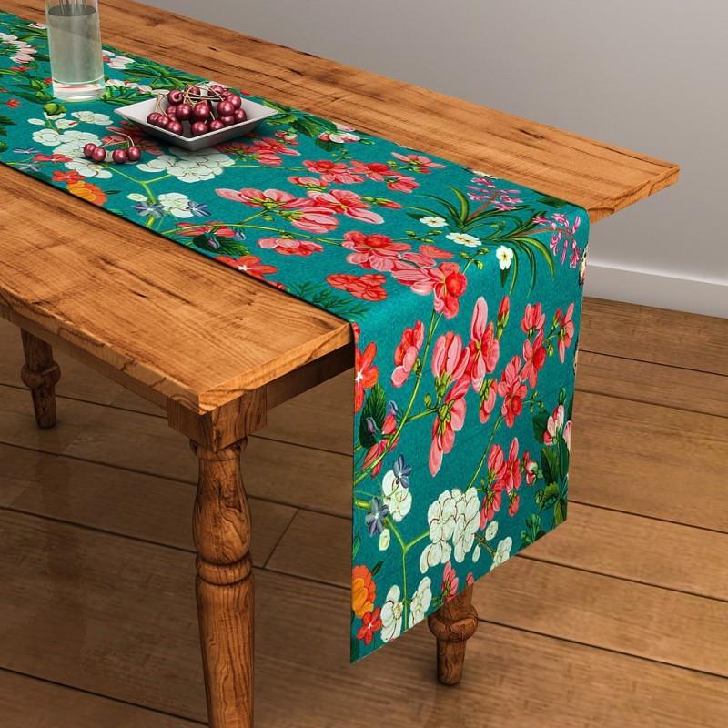 SEJ by Nisha Gupta Green 120 cm Table Runner(Cotton)